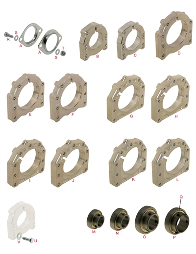 Axle supports and bearings