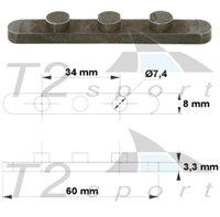 Axles key 3x7,4 mm, space 17 mm