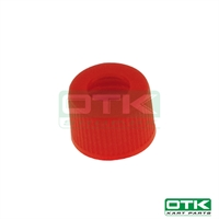 Small drilled plug for fuel tank, red
